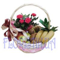Fruit basket with a rose bush